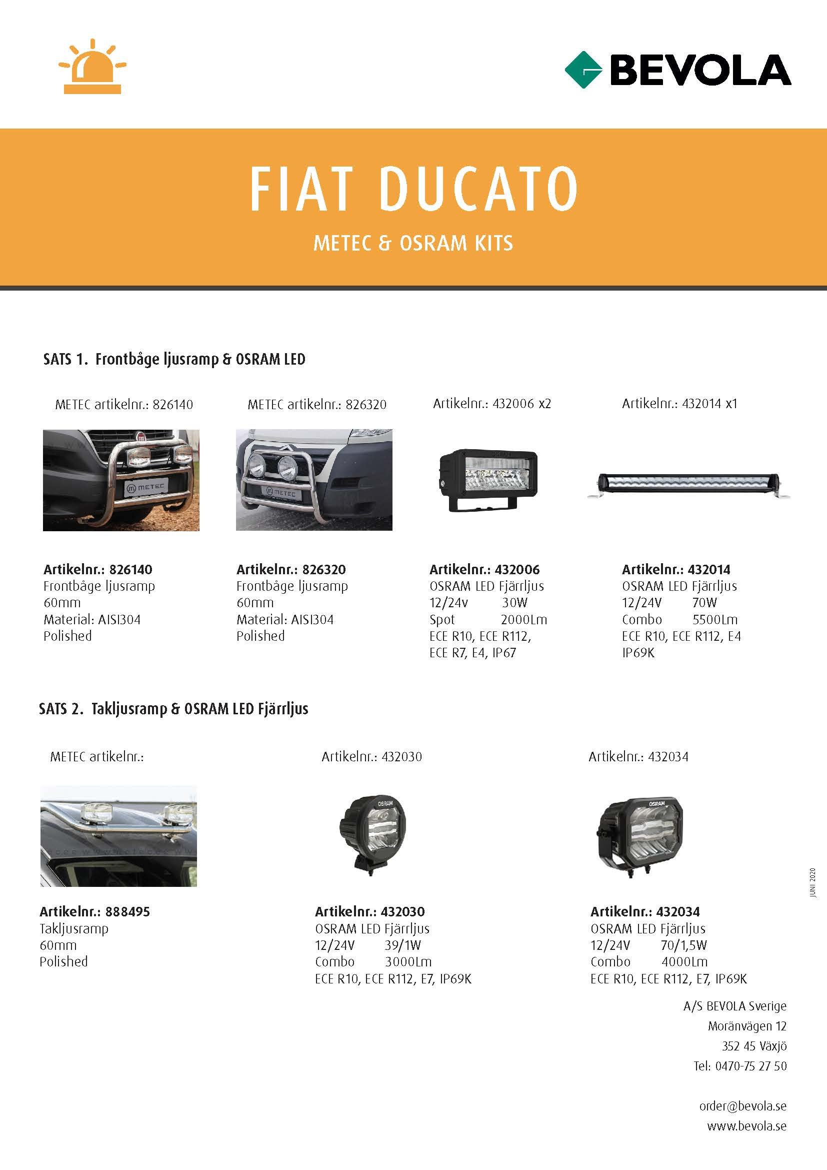 METEC + OSRAM KITS FIAT DUCATO